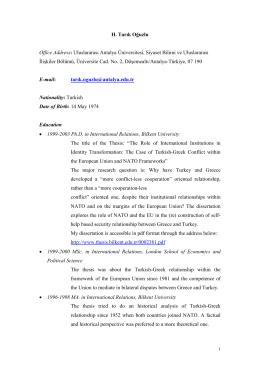 H. Tarık Oğuzlu Office Address: Uluslararası Antalya Üniversitesi