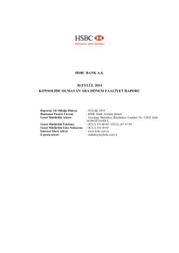 HSBC BANK A.Ş. 30 EYLÜL 2014 KONSOLİDE OLMAYAN ARA
