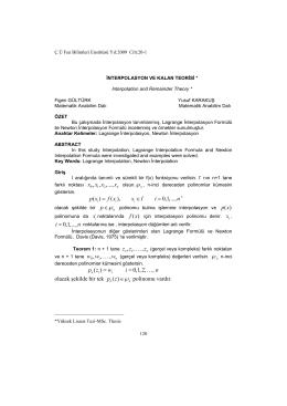 lagrange interpolasyon ve ardışık farklar