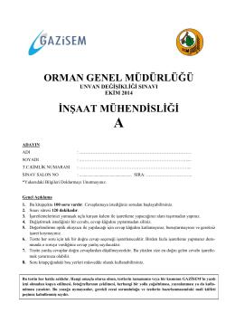 İnşaat Mühendisliği A - Orman Genel Müdürlüğü