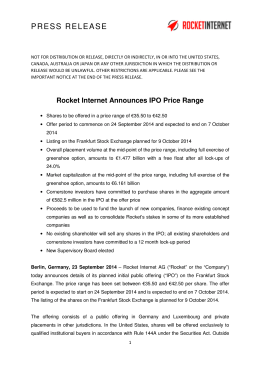 Announces - IPO - Rocket Internet