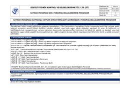Kaynak Personeli İçin Personel Belgelendirme Programı