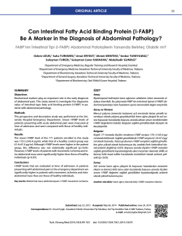 Can Intestinal Fatty Acid Binding Protein (I-FABP) Be