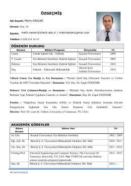 Doç. Dr. Metin KESLER - Bilecik Şeyh Edebali Üniversitesi