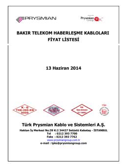 Bakır Telekom Haberleşme Kabloları Fiyat Listesini PDF