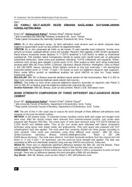 Poster Sunumlar - Türk Dişhekimleri Birliği