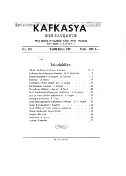 (DER К A UÇ A S U S) No. 2-3 Eylül-Ekim 1951 Hah: DM 2,-