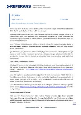 2014-039 Kayıtlı E-Posta Sistemine İlişkin