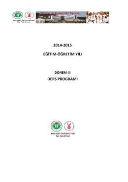 Dönem III Ders Programı (2014-2015)