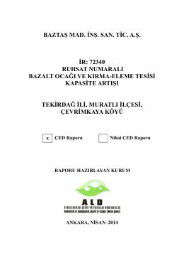 BAZTAŞ KAPAK - Çevre ve Şehircilik Bakanlığı