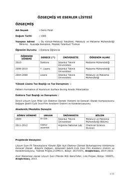 CV - Metalurji ve Malzeme Mühendisliği