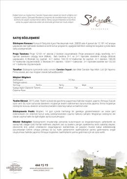 satış sözleşmesi - Şehzade Residence