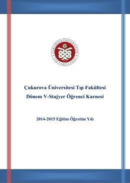 STAJER KARNEsi 2014-2015 Eylül - Çukurova Üniversitesi Tıp