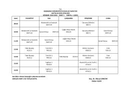 Marmara Eczacılık 2014-2015 Ders Programı