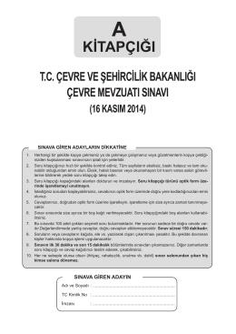 A Kitapçığı sınav soruları - Çevre ve Şehircilik Bakanlığı