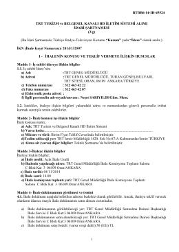 TRT Belgesel İdari Şartname son
