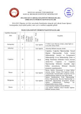 T.C. MUSTAFA KEMAL ÜNİVERSİTESİ SOSYAL BİLİMLER