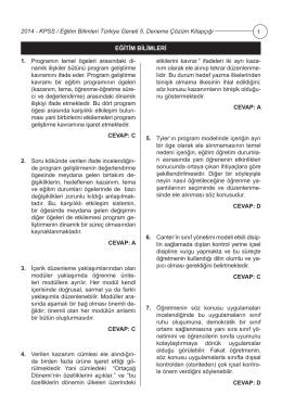 KPSS Eğitim Bilimleri Türkiye Geneli Deneme Sınavı 5 Çözümleri