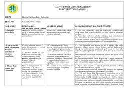 Risk ve Kontrol Tablosu - İstanbul Üniversitesi | İdari ve Mali İşler