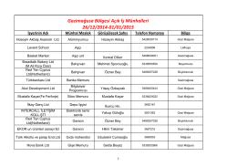 Gazimağusa Bölgesi Açık İş Münhalleri 26/12/2014