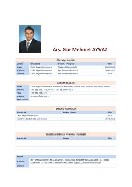 Arş. Gör Mehmet AYVAZ - Celal Bayar Üniversitesi