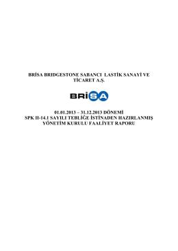 brisa brıdgestone sabancı lastik sanayi ve ticaret a.ş. 01.01.2013