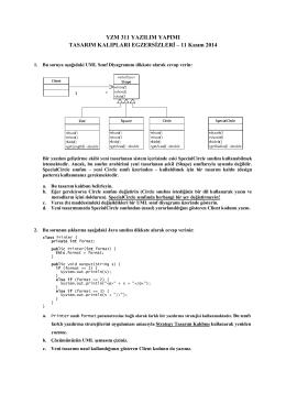 YZM311 Tasarım Kalıpları Egzersizleri