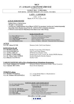 17. Avrasya Ekonomi Zirvesi Programı
