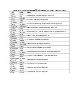 13.02.2015 tarihinde eğitim verilecek personeller