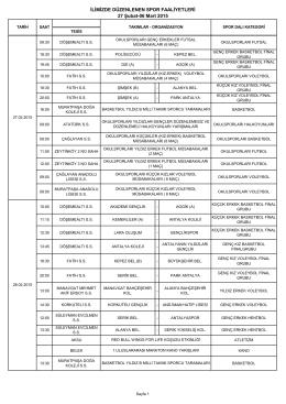 27 Şubat - 6 Mart 2015 Faaliyet Programı