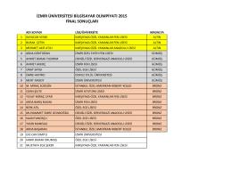 izmir üniversitesi bilgisayar olimpiyatı 2015 final sonuçları