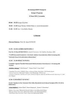 Kongre Programı - 15. Ulusal Kromatografi Kongresi