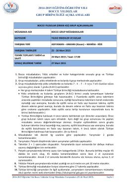 2014-2015 bocce yıldızlar (erkek-kız) grup açıklamaları