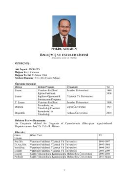 Prof. Dr. Ali ŞAHİN - Karamanoğlu Mehmetbey Üniversitesi Sağlık