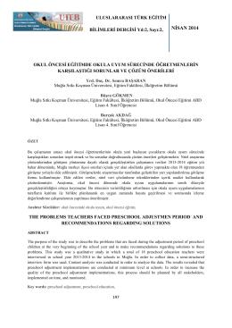 NİSAN 2014 - Gaziosmanpaşa Üniversitesi Eğitim Fakültesi Dergisi