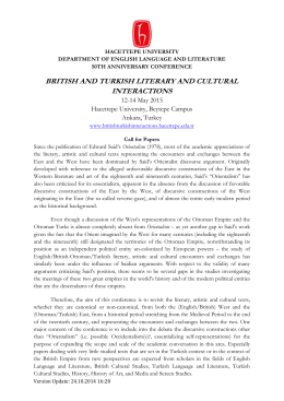 BRITISH AND TURKISH LITERARY AND CULTURAL INTERACTIONS