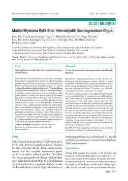 Multipl Miyeloma Eşlik Eden Nekrobiyotik