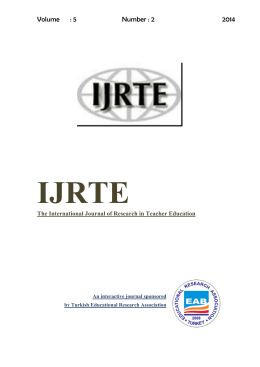 The International Journal of Research in Teacher Education (IJRTE)