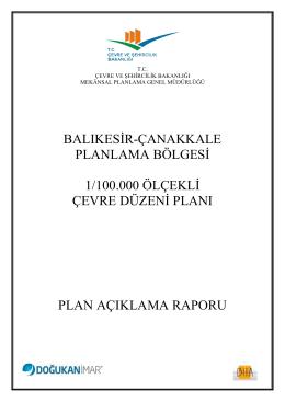 plan açıklama raporu - Çevre ve Şehircilik Bakanlığı