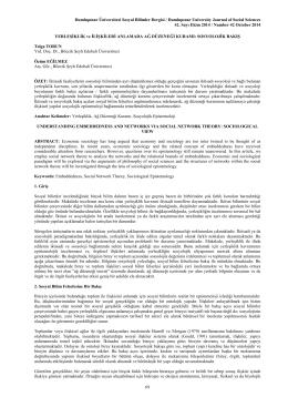 SOSYOLOJİK BAKIŞ - Türk Dili Bölümü