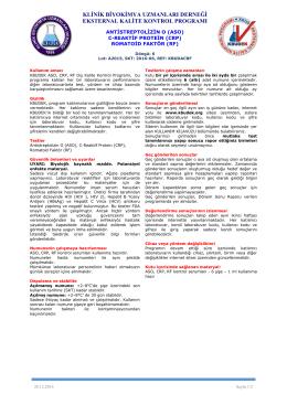 ASO,CRP,RF Dökümanı - KBUDEK Eksternal Kalite Kontrol Programı
