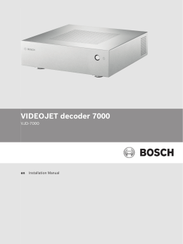 VIDEOJET decoder 7000 - Bosch Security Systems