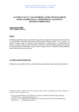 Alüminyum ve cam giydirme cephe sistemlerinin sınıflandırılması