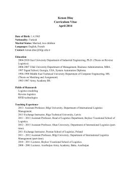Kenan Dinç Curriculum Vitae April 2014
