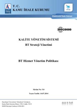 BT Hizmet Yönetim Sistemi Politikası