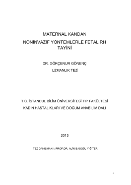maternal kandan noninvazif yöntemlerle fetal rh tayini