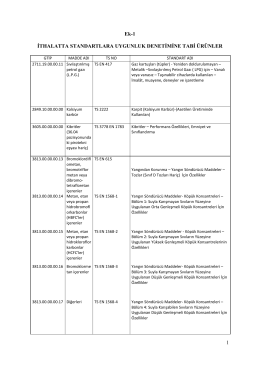 2014-1 ÜGD Tebliği-İTHALATTA STANDARTLARA