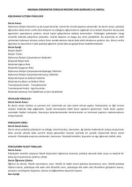 kişilerarası iletişim psikolojisi - Psikoloji Bölümü, Melikşah Üniversitesi