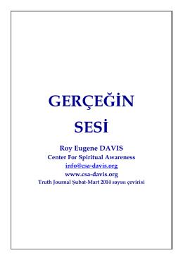 GERÇEĞĠN SESĠ Roy Eugene DAVIS