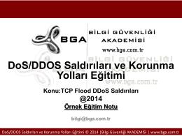 DoS / DDoS Saldırıları ve Korunma Yolları Eğitimi